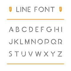 Modern vector thin line font for web