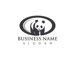 Panda Silhouette Logo design vector template