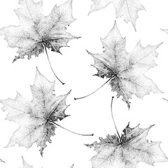 Seamless vintage pattern with a large black maple leafs on a white background.