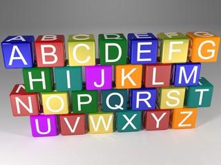 Alphabet on boxes