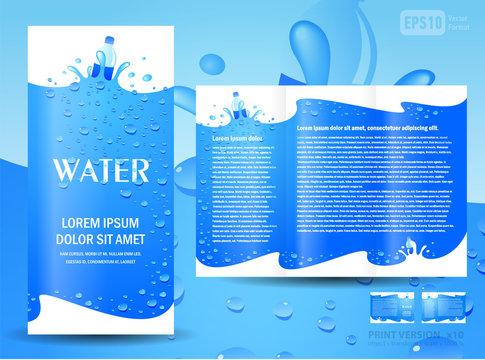 brochure folder water aqua splash bottle drops element design