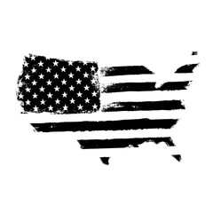 America map flag shaped. Territory of United States of America with flag. Shape of american map. Monochrome image, isolated on white. Vector illustration
