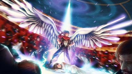 Cartoon illustration of a great birdman or wingman warrior hero is bursting his ultimate power to save his princess girl. Male cartoon warrior shows his power in fantasy superhero concept.