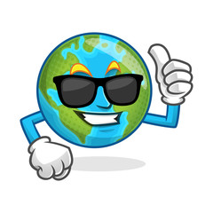 cool thumb up earth mascot wearing sunglasses, earth character, earth cartoon vector