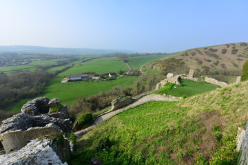 The view from Corfe castle in Dorset on a spring morning