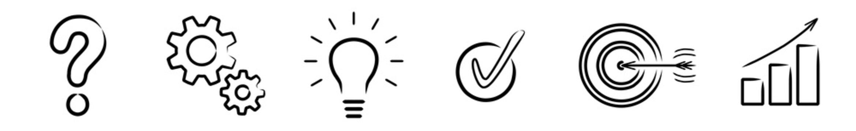 Vektor-Iconset: Fragezeichen, Zahnräder, Glühlampe, Check, Zielscheibe, Diagramm / Zeichnung, schwarz-weiß