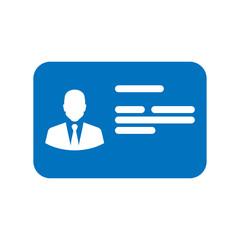 Icono plano carnet de identidad azul en fondo blanco