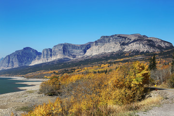 Wall Mural - Mountains and Fall Colors in Glacier National Park