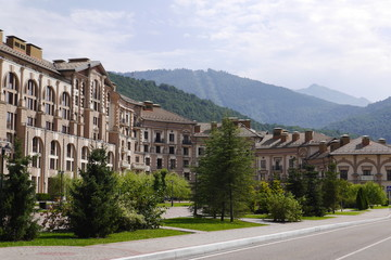 Hotel building in Gorki Сity and mountains. Sochi, Russia