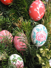 Easter Background. Easter Eggs decorated by children in the kindergarten