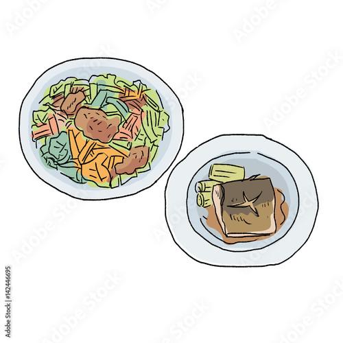魚料理 肉料理 イラストfotoliacom の ストック画像とロイヤリティ