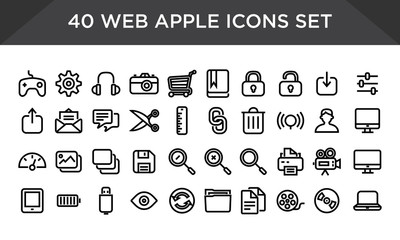 Web apple icons set vector