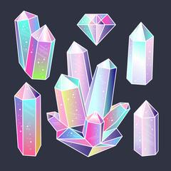 Wall Mural - Gems, crystals sticker set vector