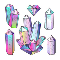 Set of multicolored crystals gemstones isolated vector