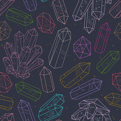 Wall Mural - Gems, crystals line art pattern vector