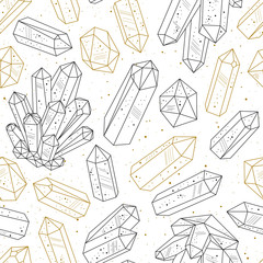 Wall Mural - Gems, crystals black and gold pattern vector