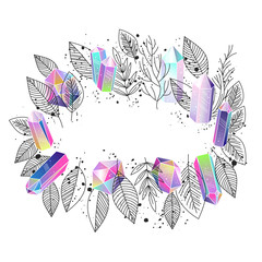 Wall Mural - Frame floral and crystals vector