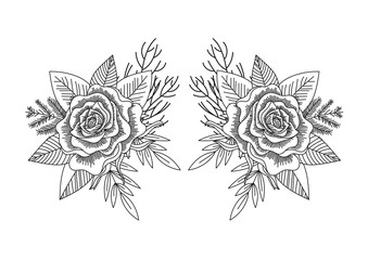 Rose and leafs black and white vector