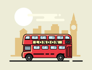 london bus flat design