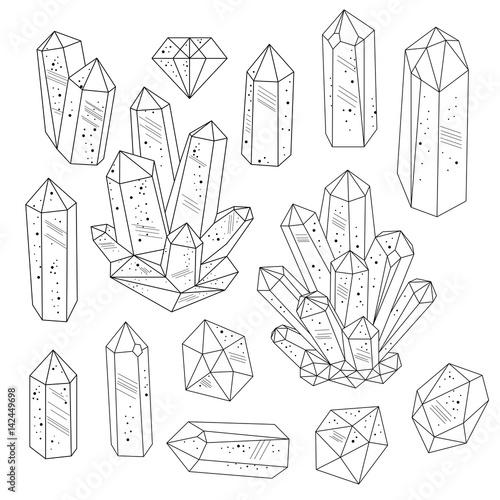 Wall mural Gems, crystals line art vector