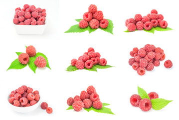 Set of ripe red raspberries close-up on white