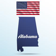 Alabama state with shadow with USA waving flag