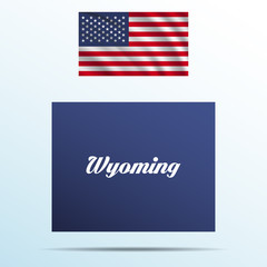 Wyoming state with shadow with USA waving flag