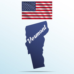 Vermont state with shadow with USA waving flag