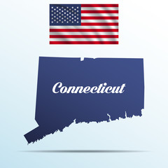Connecticut state with shadow with USA waving flag