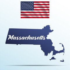 Massachusetts state with shadow with USA waving flag