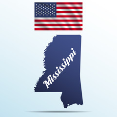 Mississippi state with shadow with USA waving flag