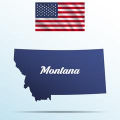 Montana state with shadow with USA waving flag