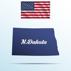 North Dakota state with shadow with USA waving flag