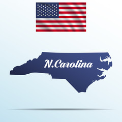 North Carolina state with shadow with USA waving flag