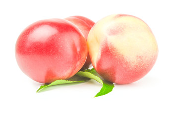 Ripe peaches on a white background. Clipping path