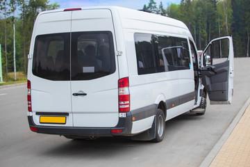 Minibus with an open door