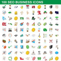 100 seo business icons set, cartoon style