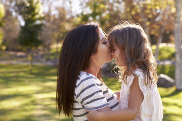 Loving Mother Kissing Daughter In Park