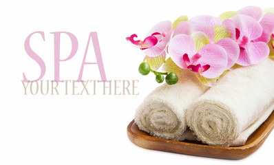 Spa still life with orchid and towels