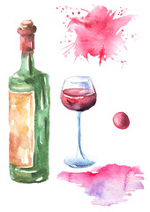 Watercolor set of drawings - a glass with red wine, plum, grapes, stain, paint. On isolated white background.