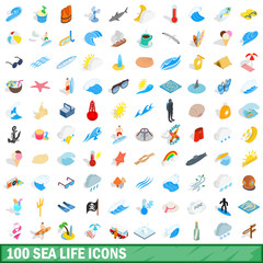 100 sea life icons set, isometric 3d style