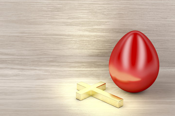 Golden cross and red egg
