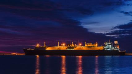LNG TANKER AT DAWN IN SWINOUJSCIE - Sunrise in the sea port