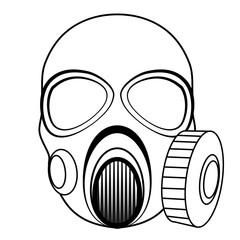 Black and white vector hand drawn illustration - gas mask