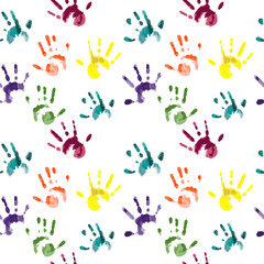 Vector colorful children hand prints - seamless pattern