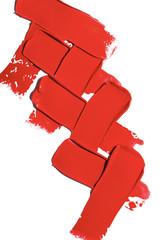 Dark red lipstick on white background.
