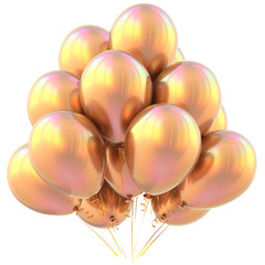 Golden party balloons happy birthday decoration yellow glossy sparkling. Holiday anniversary celebrate new year's eve xmas christmas carnival greeting card gold luxury design element. 3D illustration