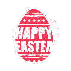 Happy easter emblem. Egg symbol Religion holiday. Grunge style. Brush and splashes.