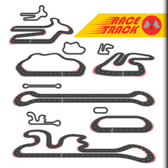 Race track, racing loop or race circuit, car racetrack collection. Turbo challenge vector illustration set. For toy, modeling, package, sport, gift, transportation, car, bolide, dragster, game design.