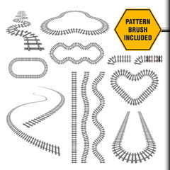 Vector illustration that include new railway border or railroad pattern brush and ready for use curves, perspectives, turns, twists, loops, elements, all rail transport path motives isolated on white.